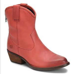 Born Wynd Leather Western Stacked Block Heel Boots